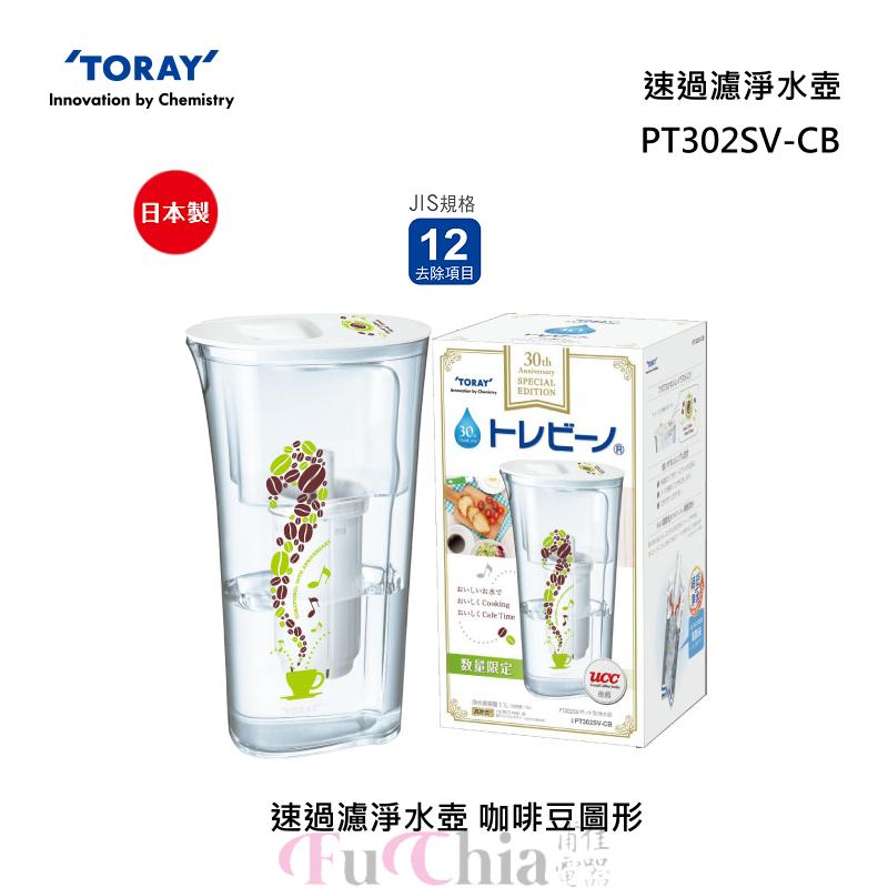 TORAY PT302SV-CB 速過濾 淨水壺 咖啡豆圖形