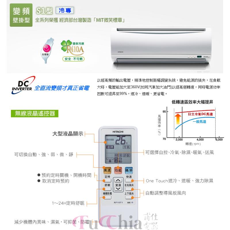 HITACHI 精品系列 S1型 冷專 變頻 壁掛分離式冷氣 1對1