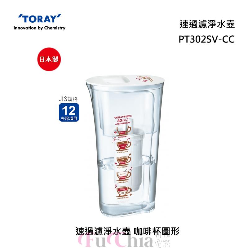 TORAY PT302SV-CC 速過濾 淨水壺 咖啡杯圖形