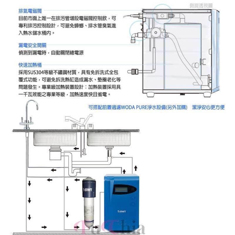 BWT DWH30A 智慧型櫥下飲用水加熱器 雙溫生飲水機