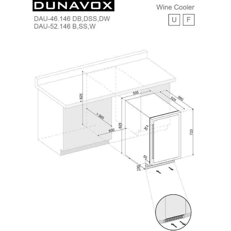 Dunavox DAU-46.146DB.TW 嵌入式 雙溫酒櫃 46瓶