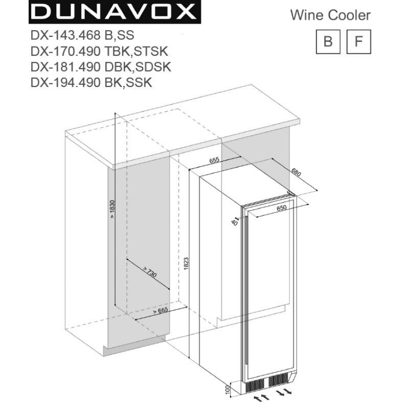 Dunavox DX-143.468B 嵌入式 酒櫃 143瓶