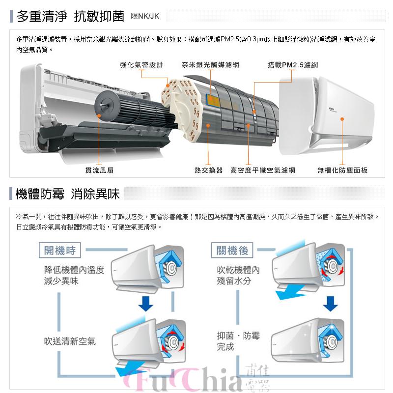 HITACHI 頂級系列 J型 冷專 變頻 壁掛分離式冷氣 1對1