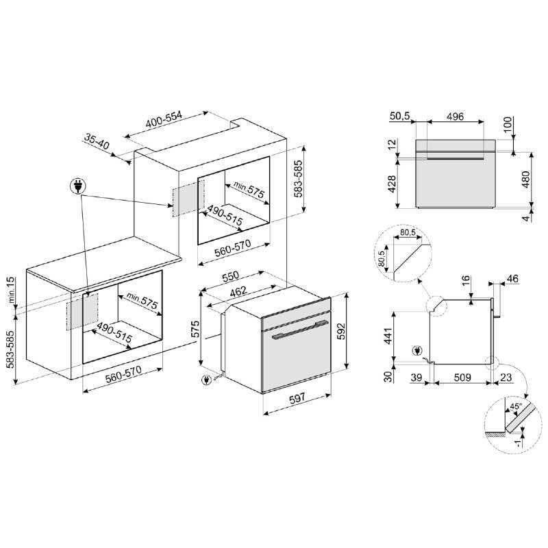 smeg SF6102TVN 嵌入式烤箱 70L (220V)