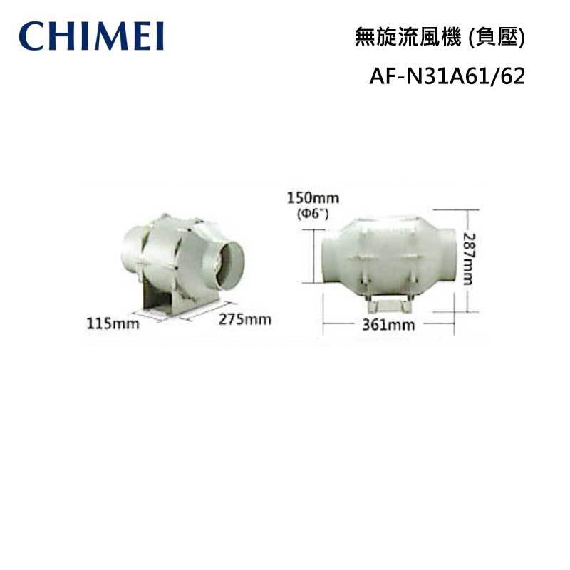 CHIMEI AF-N31A61/62 無旋流風機(負壓) (靜音)